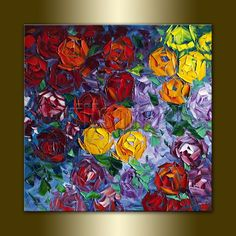 Flower Oil Painting Rose Roses Floral Canvas Painting Textured Palette Knife Contemporary Modern Original Art 20X20 by Willson Lau. $175.00, via Etsy.