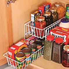 Maximize storage space under the sink! Eliminate clutter by organizing your supplies in this tiered basket shelf unit. Baskets slide out for easy access and can be removed and used as a handy carry-all. Rust-resistant, coated metal construction. Installs in seconds. $19.98 CAD