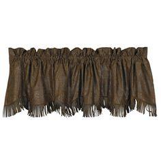 """Fringed Faux Tooled #Leather #Western #Valance 84"""" x 18"""" #DelectablyYours #WesternDecor"""