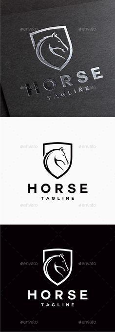 Horse Logo: Animal Logo Design Template by yopie. Logo Esport, Logo Branding, Branding Design, Brand Identity, Logo Design Template, Logo Templates, Logo Caballo, Bridge Logo, Security Logo