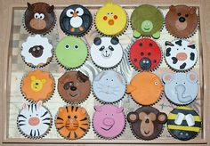 Animal cupcakes, love these! Cupcake Day, Cupcake Heaven, Cupcake Cookies, Cupcake Toppers, Cake Icing, Eat Cake, Frosting, Zoo Animal Cupcakes, Foundant