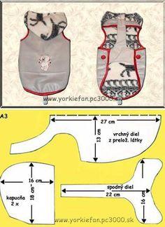 Patrones o moldes para confeccionar ropa para mascotas, en este caso los patrones están orientados a perros yorkshire terriers y otros perros pequeños. Aun así, con el patrón puedes adaptarlo, ampliando las medidas para mascotas o perros mas grandes. Patr