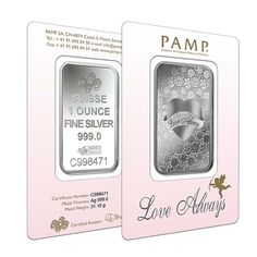 1 oz PAMP Suisse Silver Bar - Love Always (In Assay) .999 Fine   Bullion Exchanges