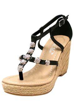 Espadrille Style Sandal With Rhinestone Trim