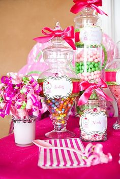 Sweet treats birthday party idea.  I want to get some clear glass jars for displaying candies and other items.   She also have a store where she sells supplies