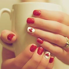 A manicure is a cosmetic elegance therapy for the finger nails and hands. A manicure could deal with just the hands, just the nails, or Fancy Nails, Love Nails, How To Do Nails, Pretty Nails, Sparkle Nails, Pink Nails, Ruby Nails, Heart Nail Designs, Cute Nail Designs