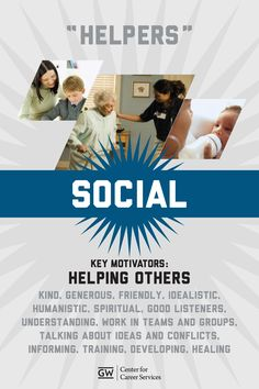 "Holland: ""Helpers"" are social people whose key motivation is to help others. Kind, idealistic and understanding, ""Helpers"" work well in teams and like to discuss problems and solutions. Career Assessment, Career Counseling, School Counselor, Business Education, Business Leaders, Career Information, Career Search, Career Exploration, Behavioral Science"