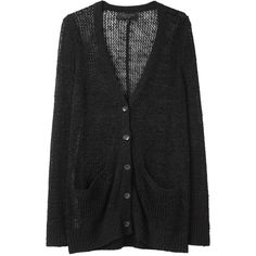 Rag & Bone Madrid Cardigan ($145) ❤ liked on Polyvore featuring tops, cardigans, outerwear, sweaters, jackets, v-neck tops, open knit cardigan, long sleeve v neck top, button down cardigan and button up cardigan