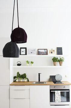 Berlin apartment small kitchen restyled with sculptural woollen lamps. Küchen Design, House Design, Interior Design, Design Ideas, Apartment Kitchen, Kitchen Interior, Kitchen Decor, Kitchen Pantry, Kitchen Layout