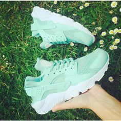 Mint Nike Huarache Mint Green Huarache Unisex Nike Huarache Mint... ($191) ❤ liked on Polyvore featuring shoes, grey, sneakers & athletic shoes, tie sneakers, unisex adult shoes, waterproof footwear, leather shoes, grey leather shoes, water proof shoes and gray shoes