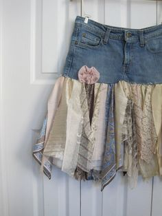 Boho fairy pixie skirt denim pixie skirt Upcycled par ShabyVintage