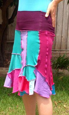 Patchwork Skirt, recycled T-Shirts Skirt, Pixie Skirt, Gipsy Skirt, Hippie Skirt or Strapless Dress. Size S/M on Etsy, $39.00
