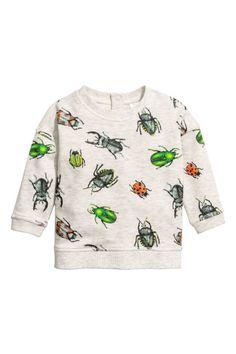 Printed sweatshirt - Light grey/Insects - Kids | H&M 1