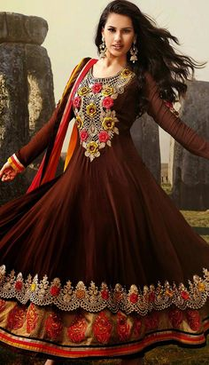 Indian Beautiful Brown Chiffon Churidar Kameez Anarkali Dresses, Dress
