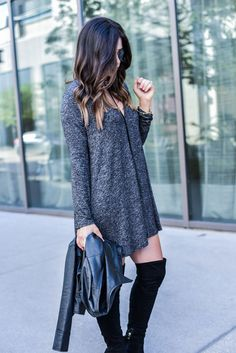 grey dress, knit sweater dress, fall fashion, style watch, over the knee boots, affordable women fashion, style blogger, best style, ootd, leather jacket under 100, http://www.flauntandcenter.com