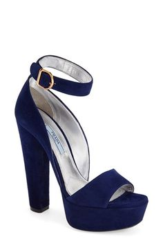 "Free shipping and returns on Prada Chunky Heel Sandal (Women) at Nordstrom.com. <p><B STYLE=""COLOR:#990000"">Pre-order this style today! Add to Shopping Bag to view approximate ship date. You'll be charged only when your item ships.</b></p><br>5"" heel; 1 3/4"" platform (size 38.5).<br>Adjustable strap with buckle closure.<br>Suede upper/leather lining and sole.<br>By Prada; made in Italy.<br>Salon Shoes."