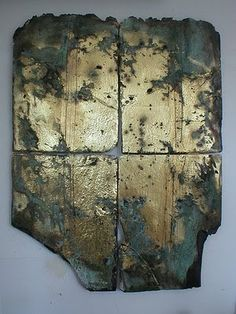 Slate, gold leaf and stitching by Tricia North