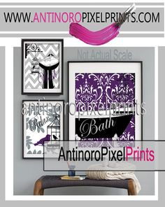 Relax Bird Collage Plum Purple Grey Black Bathroom Art Wall Gallery Digital Print  -Set of (3) -  Prints -  11x14, 8x10, 5x7, (UNFRAMED) on Etsy, $45.00