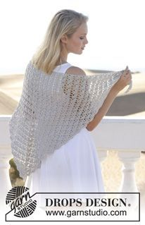 "Forget Me Knot - Crochet DROPS shawl with fan pattern in ""Cotton Viscose"". - Free pattern by DROPS Design"