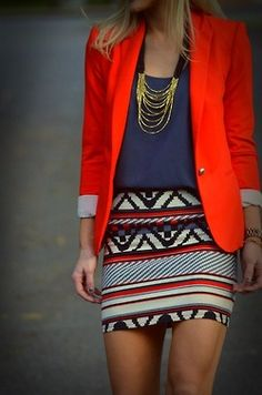 Pattern print skirt, solid top is hot. The blazer makes it hotter. Great outfit.