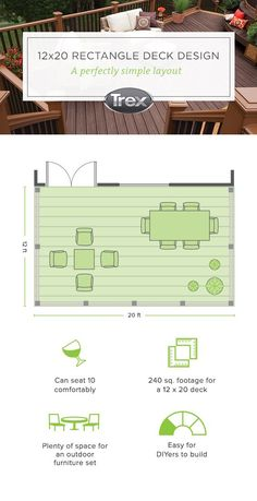 Want To Learn How To Plan And Build A Rectangle Deck Get A Free Diy Deck Design Plan From Trex For A 12 X Deck Furniture Layout Deck Design Plans Deck Design