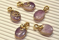 Lot of 5pcs  Amethyst Charm Pendants  Wire por specialCANmade, $18,00