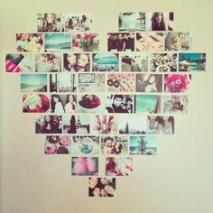 Photo heart collage - great idea for uni room wall art, from Phillips-Barton Phillips-Barton Phillips-Barton Hornsey our student Dream Room winner. Uni Bedroom, Quirky Bedroom, Dream Bedroom, Bedroom Wall, Bedroom Yellow, Arty Bedroom, Student Bedroom, Bedroom Crafts, Bedroom Rustic