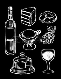vector set van de hand getekende getextureerde dessert illustraties in vintage krijtbord stijl Stockfoto