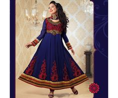 The Purple color Party wear Anarkali Salwaar Kameez Suit with traditional embroidery work.