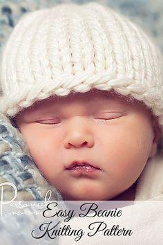 Knitting PATTERN - Easy Knit Baby Beanie Pattern 9cbf0e3d3d06