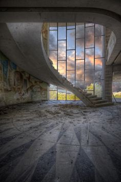 Floating stairs in abandoned restaurant Abandoned Buildings, Abandoned Property, Abandoned Mansions, Old Buildings, Abandoned Places, Abandoned Library, Abandoned Castles, Beautiful Buildings, Beautiful Places