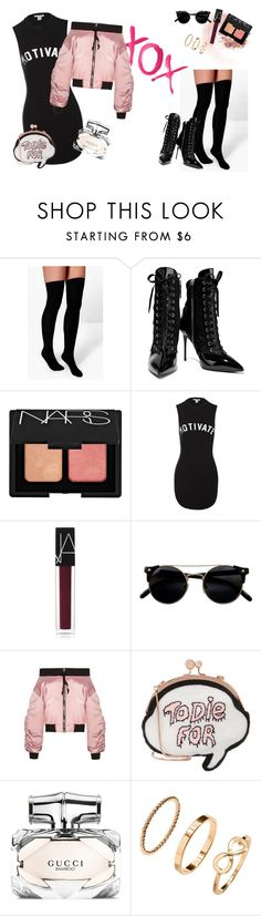 """How to wear boots"" by oladda on Polyvore featuring moda, NARS Cosmetics, Boohoo, GALA, Giuseppe Zanotti, Sans Souci, Sophia Webster, Gucci e H&M"