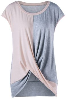 Plus Size Color Block Twist T-Shirt