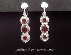 Clip On Earrings | Affordable Quality Clip-On Earrings - Clip On Earrings, Garnet Gems, Sterling Silver, Drop Style #cliponearrings #earrings #clipon #silverearrings #mothersday #mothersdaygift