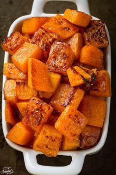 Maple Cinnamon Roasted Butternut Squash makes the perfect easy side dish! So simple & delicious!