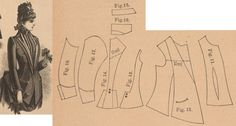 Der Bazar 1886: Springtime paletot from brown cloth with brown silk-reps plastron and edgings (add silk lining); 11. bodice's front lining, 12. paletot's front part, 13. side gore, 14. back part, 15. and 16. standing and rolled collars in half sizes, 17. and 18. sleeve parts