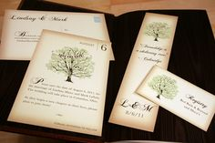 Sample Vintage Book Wedding Invitation Rustic Tree by vohandmade