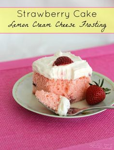 strawberry cake with lemon cream cheese frosting