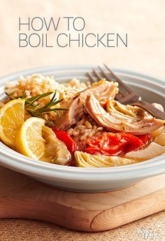 Get tips on how to boil chicken breasts, plus recipe ideas you can use to get dinner on the table fast! This method also yields homemade chicken stock.