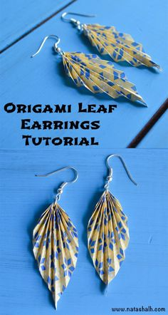 Discover this origami paper leaf earring tutorial and see how to fold paper leaf/fan earrings step by step! Easy and cute paper earrings. Origami Design, Origami Diy, Origami Simple, Origami Love Heart, Origami Star Box, Origami Boxes, Dollar Origami, Origami Ball, Origami Ideas