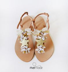 Handmade Leather Sandals with Gold Starfish, cream, clear and gold beads on Etsy, $59.61