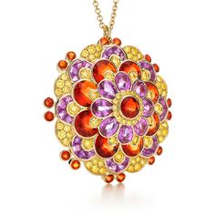 Tiffany & Co. -  Pink Sapphire, Fire Opaland Yellow DiamondPendant: Pink sapphires, fire opals and yellow diamonds unfold in layers of delicate petals set in 18k gold. Carat total weight: fire opals, 10.03; pear-shaped pink sapphires, 7.29; baguette pink sapphires, 4.16; yellow diamonds, 2.31.