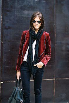 Burgundy velvet blazer with navy piping