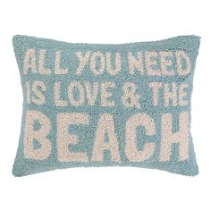 All You Need Is Love and the Beach Hook Pillow is the Perfect Throw Pillow for a Beach Themed Bedroom.