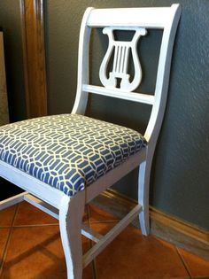 Lyre Back Chair, Painted White, And Lightly Distressed.
