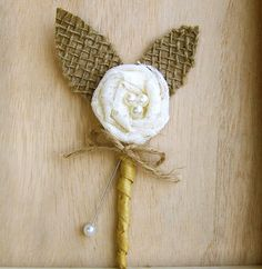Rustic Boutonniere -Lace Boutonniere -Shabby Chic Wedding -Rustic Wedding -Burlap and Lace. $7.99, via Etsy.