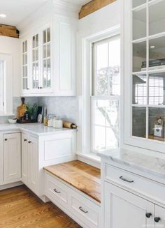 Built-in Window Seat with cabinetry on either side to make up for loss of cabinets on the wall above sink. (Putting windows in there instead). Love the window seat under low window to keep cabinets going White Farmhouse Kitchens, Farmhouse Kitchen Cabinets, Home Kitchens, Farmhouse Style, Farmhouse Bench, Modern Farmhouse, Farmhouse Kitchen Sinks, Country Style, Kitchen Remodeling