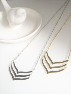 The Ella Triple Curved Chevron Necklace in by shopblackbirdjewelry
