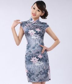 Style: short qipao sleeve style: short Collar shape: stand Fabric: silk Size: S M L XL XXL Characteristics:Elegant Design: hand-painted Purchasing from the factory directly, cheap, selling, new style, fashion.Thickness and softness moderate.