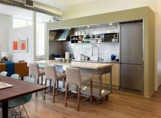 32 Magnificient Small Kitchen Design Ideas For Small Home, The plan is truly cool. Kitchen design is continuously evolving and changing. If it comes to small kitchen design, don't feel just like you're stuck w. Portable Kitchen Island, Rolling Kitchen Island, Kitchen Island Table, Modern Kitchen Island, Kitchen Island With Seating, Narrow Kitchen, Kitchen Islands, Small Kitchens, Cabinet Island